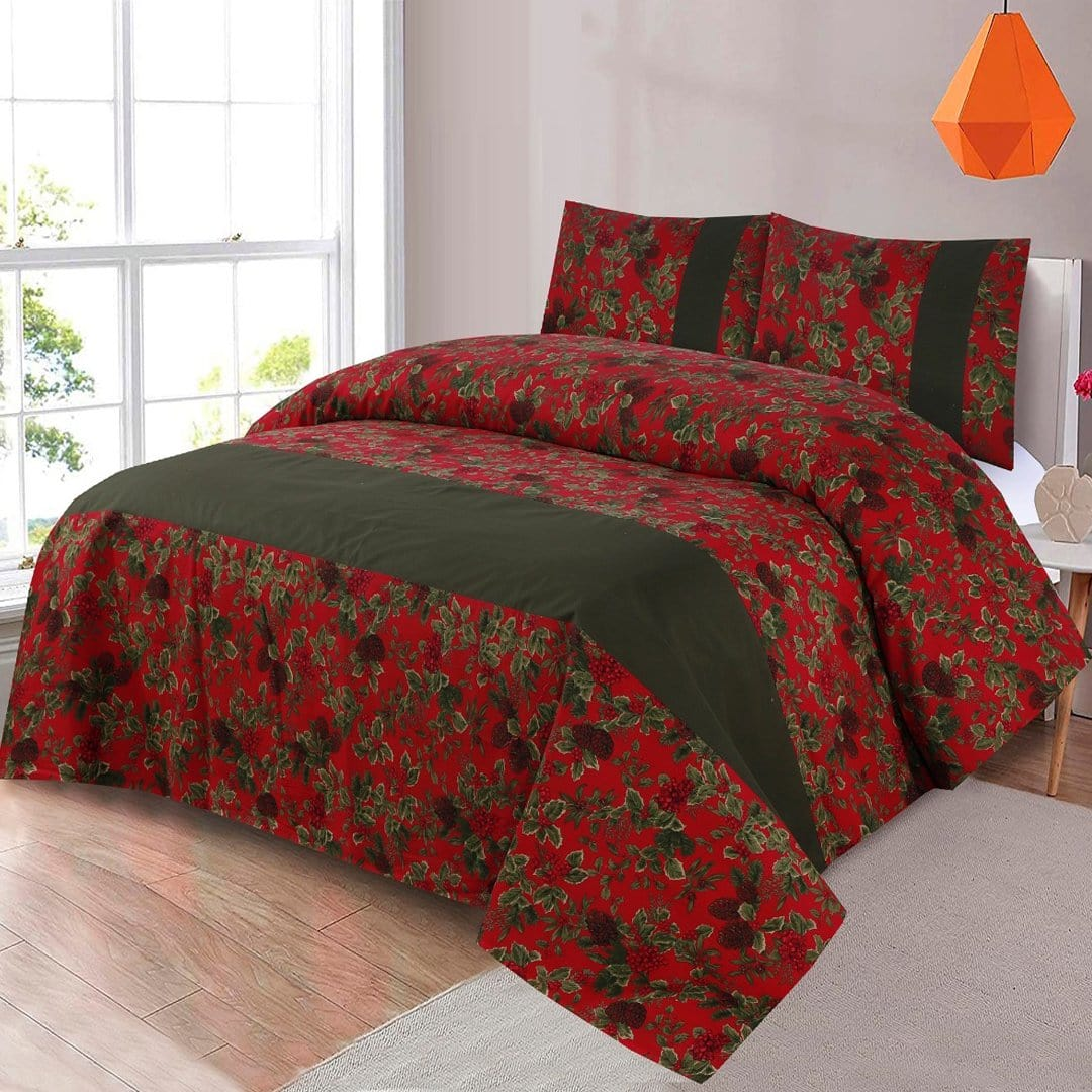 Grace D268-Cotton duck king size  (Patch work) Bedsheet with 2 pillow covers.