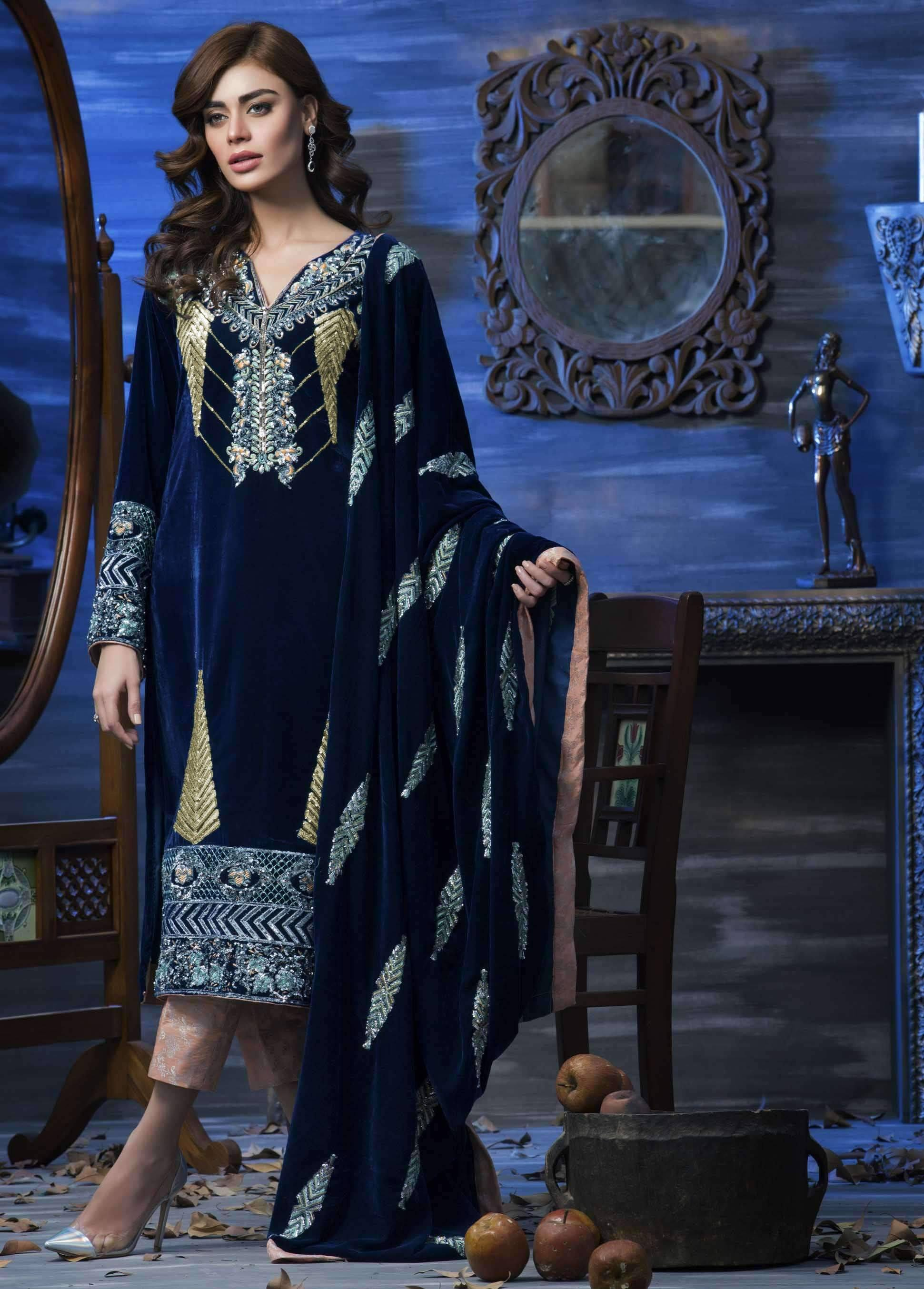 Sarinnah 55-Embroided 2pc velvet dress with jamawar trouser.