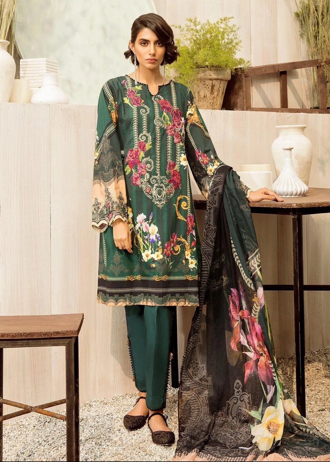 Beechtree 18597-Embroided 3pc khaddar dress with wool shawl. - gracestore.pk