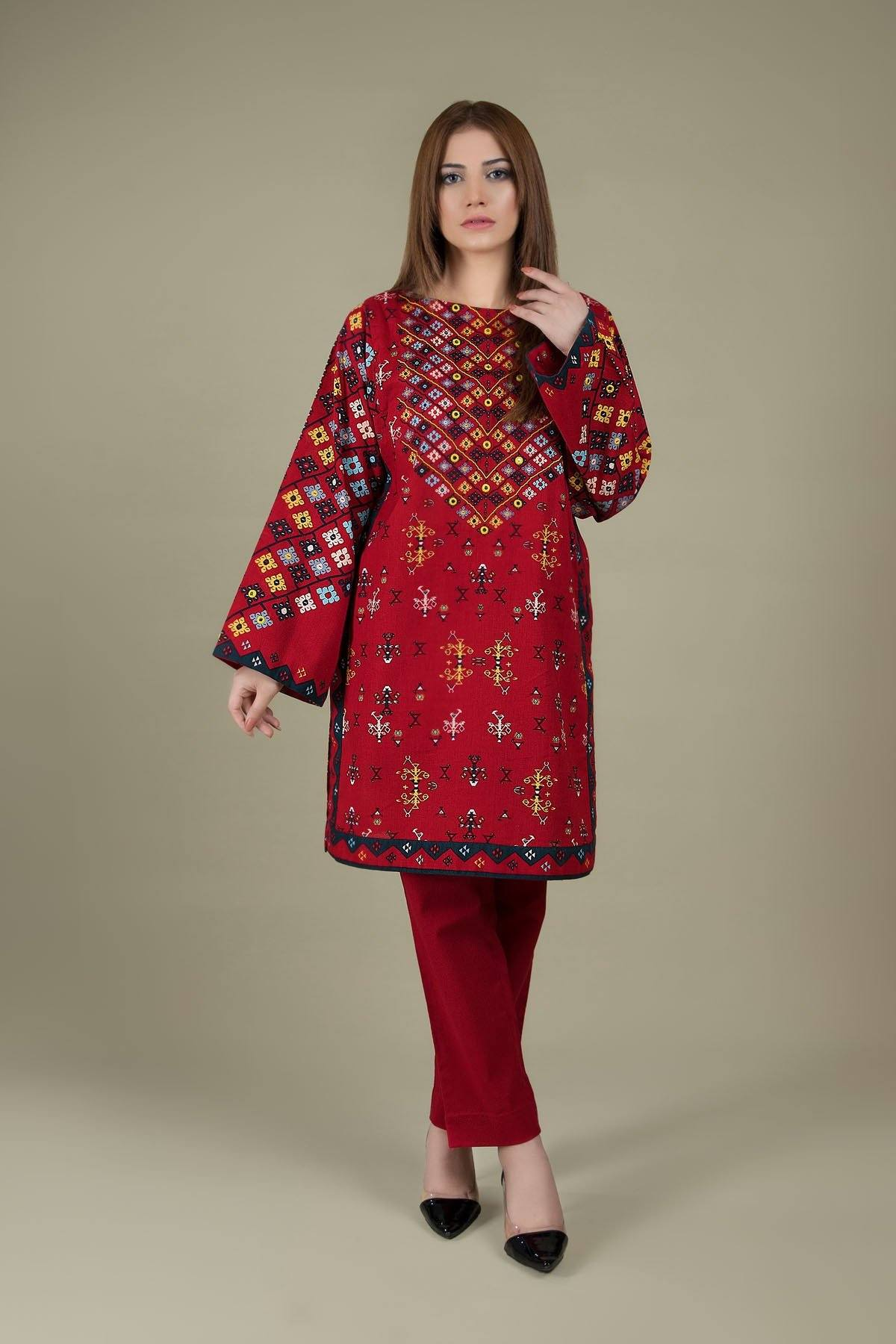 Sarinnah D39 K-Embroided 2pc khaddar dress shirt & trouser. - gracestore.pk