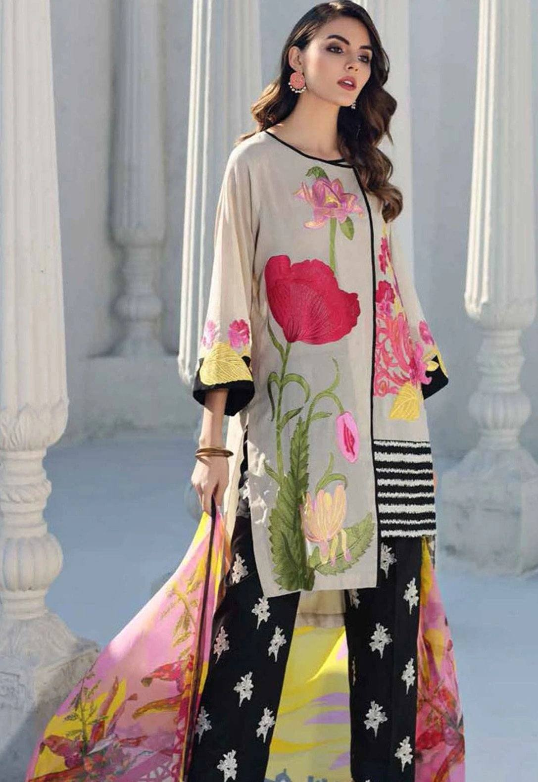 Charizma 1889-Embroidered 3pc Linen dress with printed wool shawl. - gracestore.pk