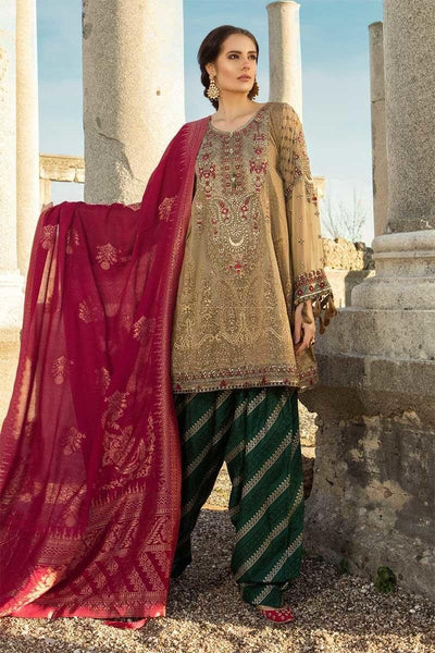 Maria 09A-Heavy Embroided 3pc lawn dress with printed chiffon dupatta. - gracestore.pk