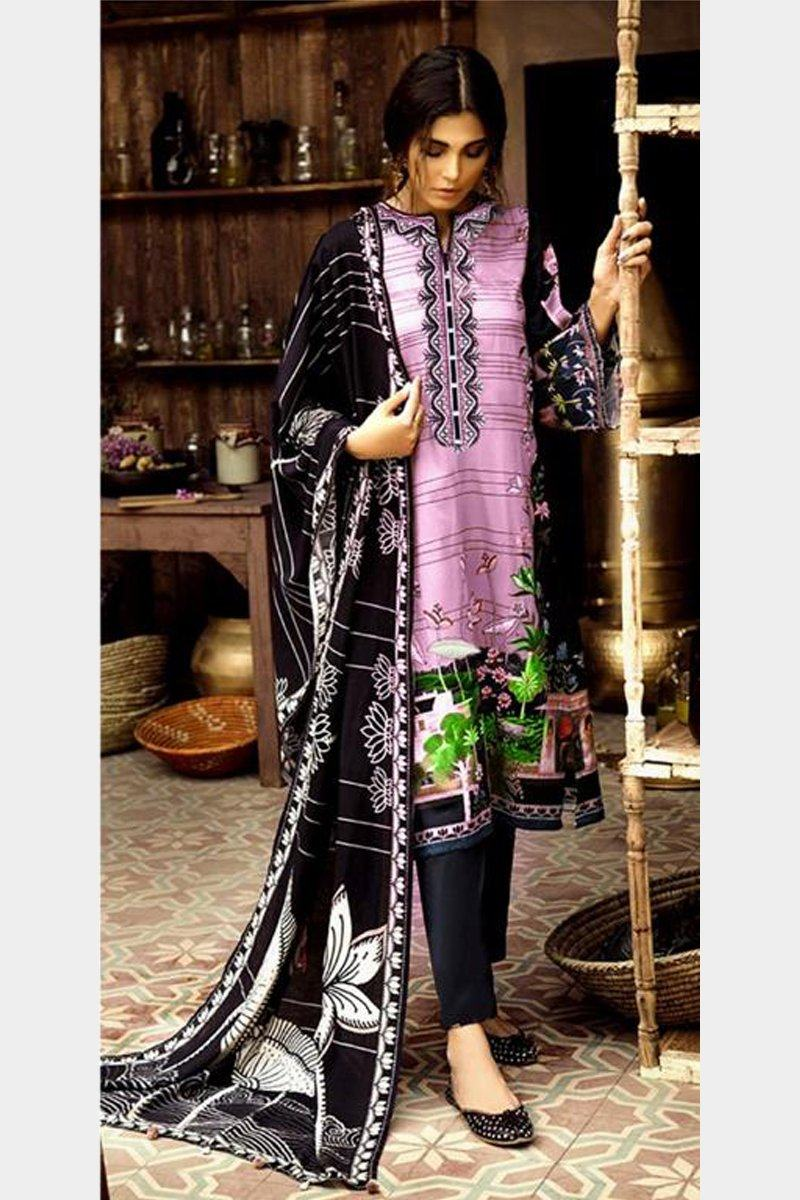 Cross Stitch 18516 -Embroided 3pc linen dress with printed wool shawl. - gracestore.pk