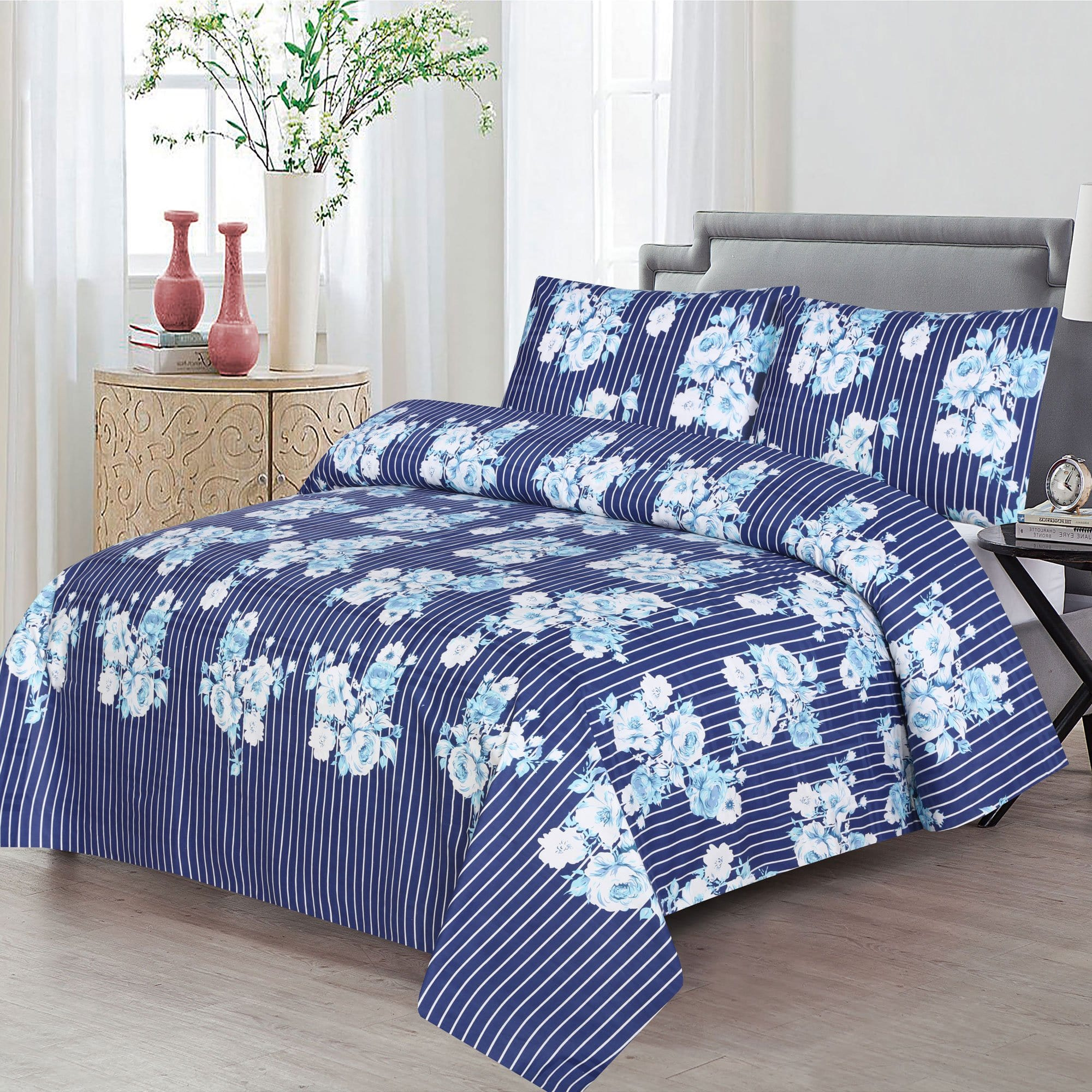 Grace D362-Reactive cotton Satin Quality king size Bedsheet with 2 pillow covers.