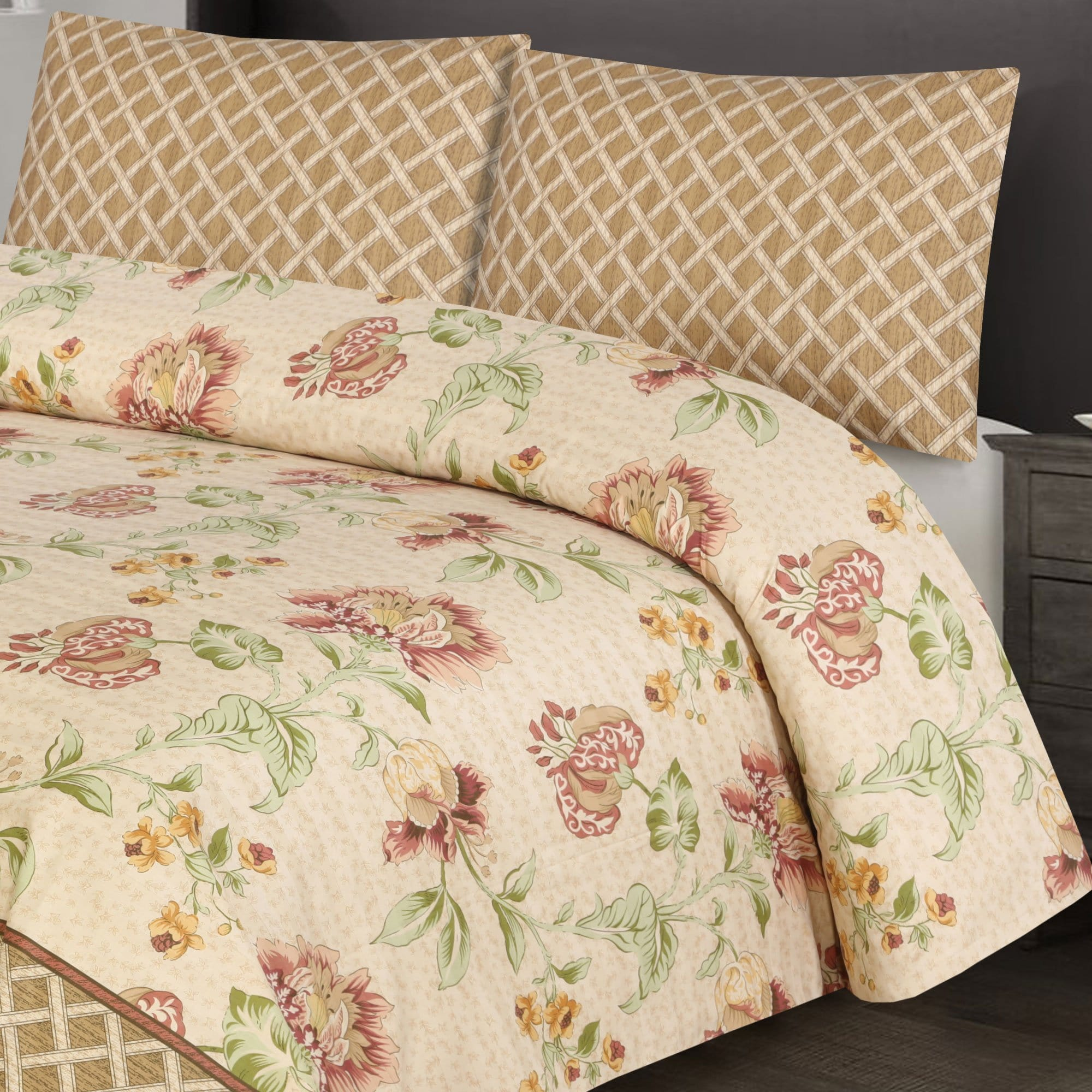 Grace D380-Reactive cotton Satin Quality king size Bedsheet with 2 pillow covers.