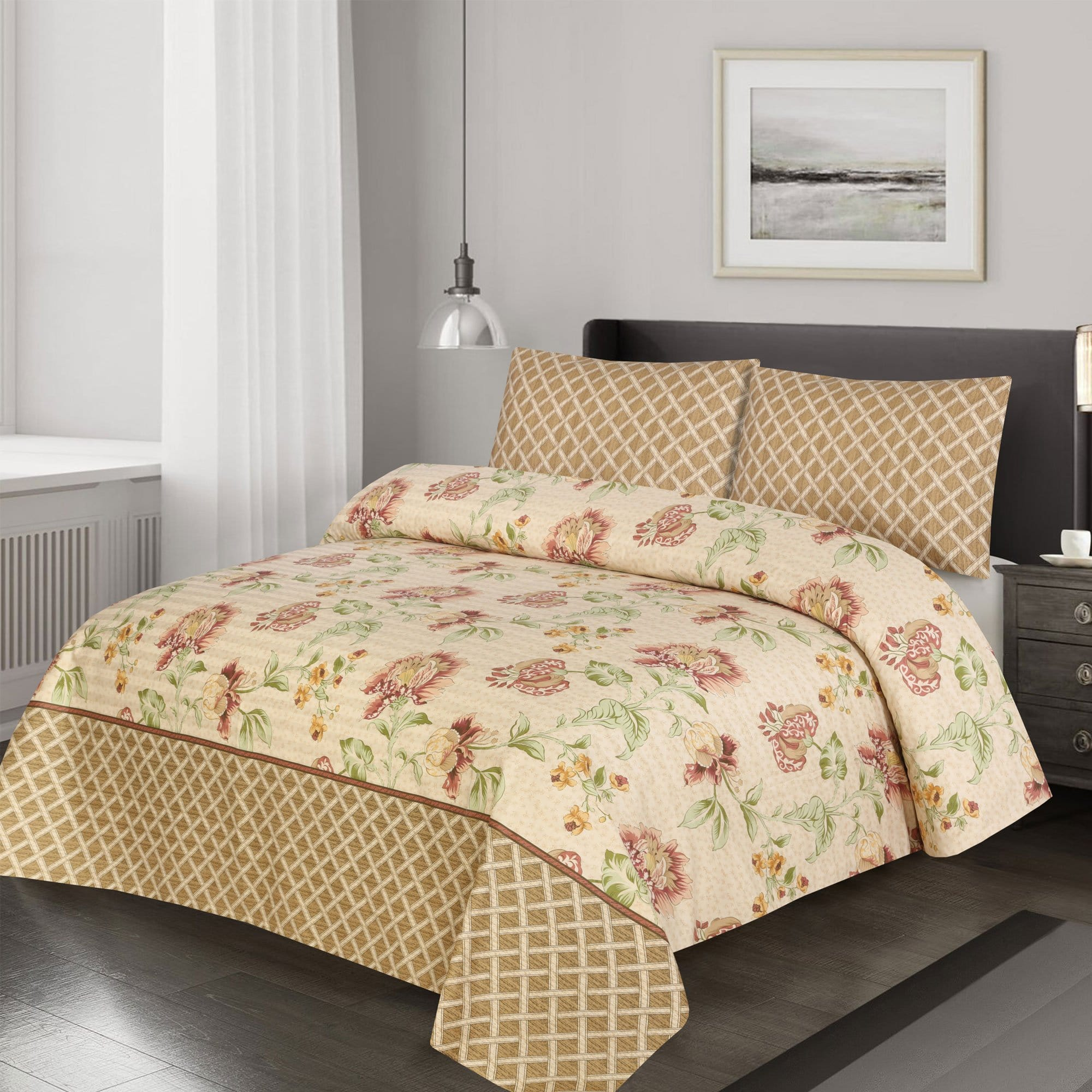 Grace D381-Cotton Satin 6 pc summer Comforter Set with 4 pillow covers