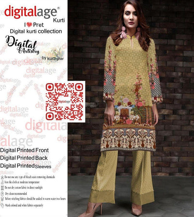 SAU 125-Digital Printed Unstiched khaddar kurti.
