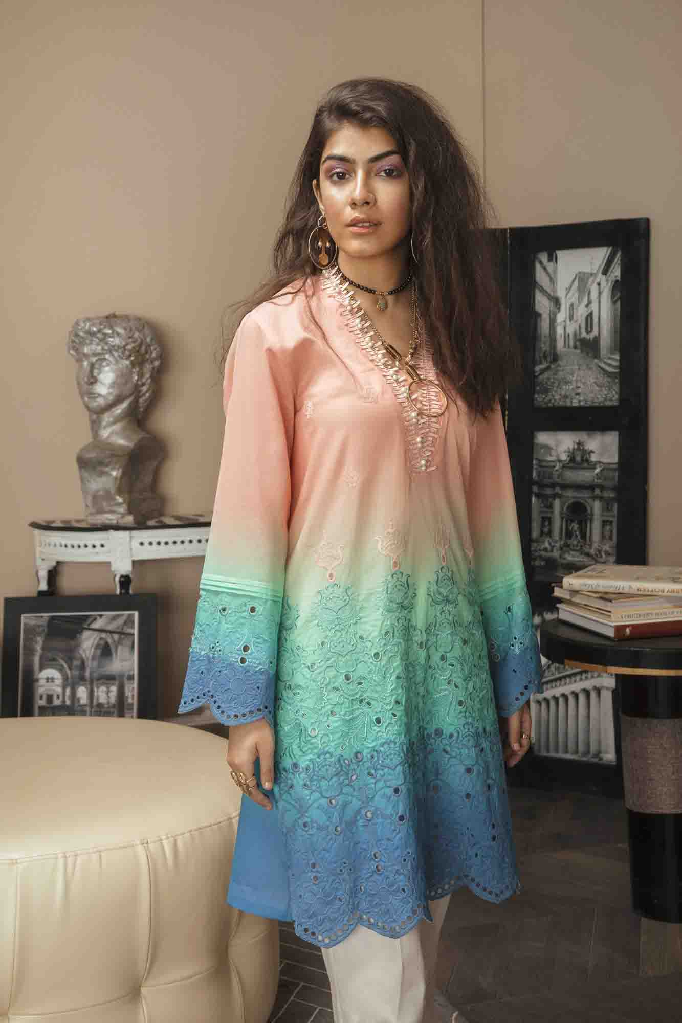 ETN peach (Pre-booking)-Embroidered 3pc lawn chicken kari dress with printed chiffon dupatta. - gracestore.pk