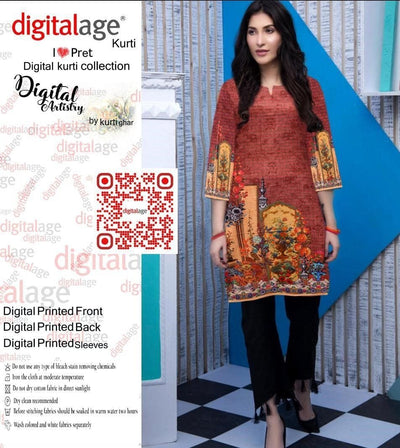 SAU 127-Digital Printed Unstiched khaddar kurti.