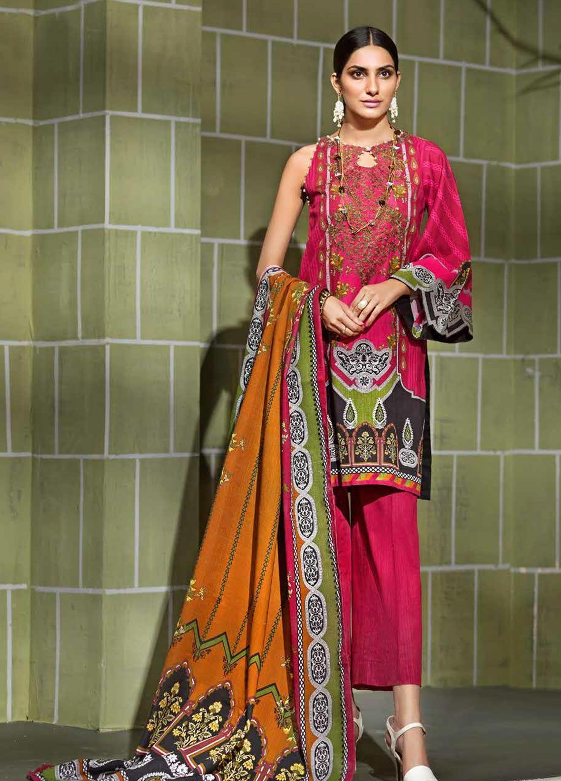 Gul Ahmed 18572-Embroided 3pc khaddar dress with wool shawl. - gracestore.pk