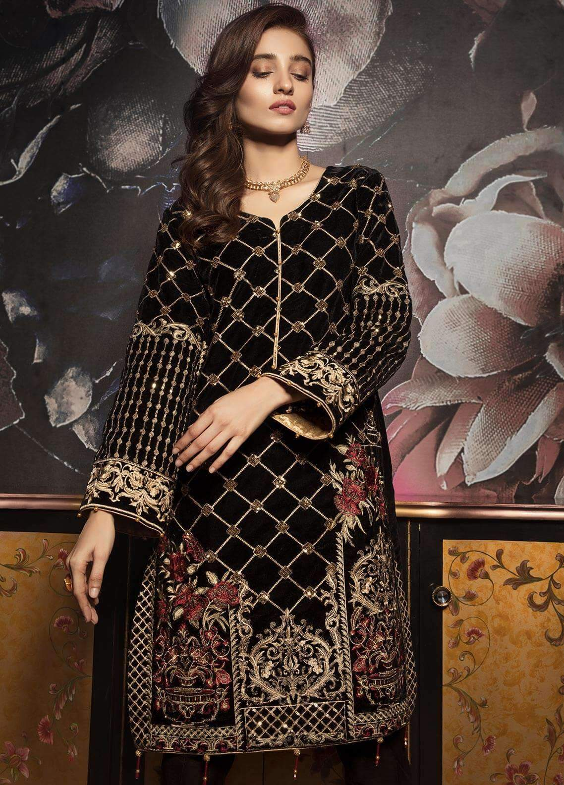 Sarinah D02 -Embroided 2pc velvet dress with jamawar trouser.