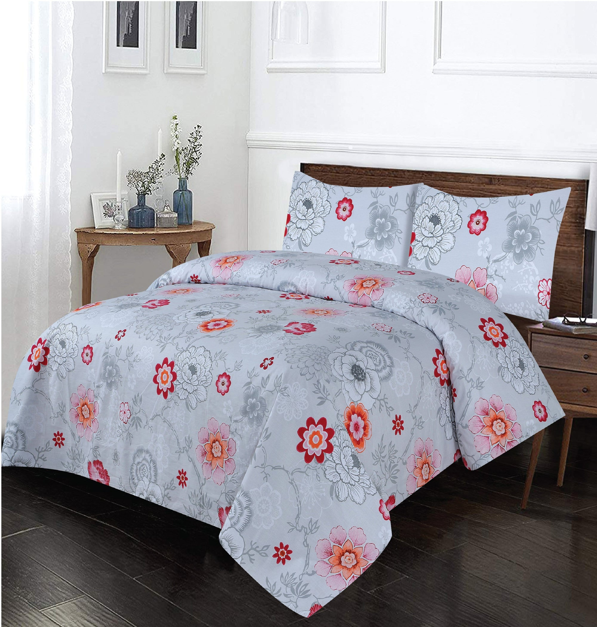 Grace D260-Cotton PC King Size Bedsheet with 2 Pillow Covers.