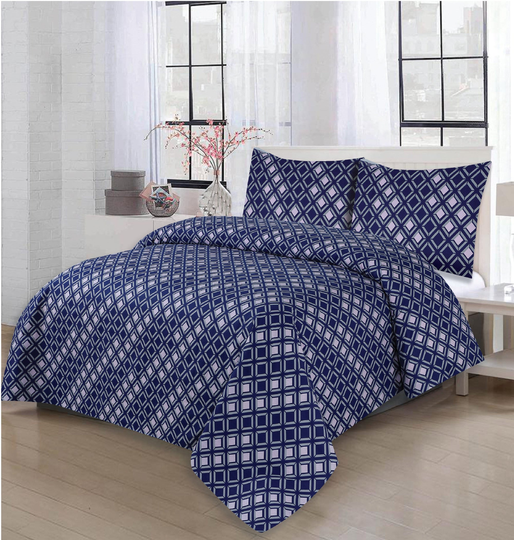 Grace D259-Cotton PC King Size Bedsheet with 2 Pillow Covers.