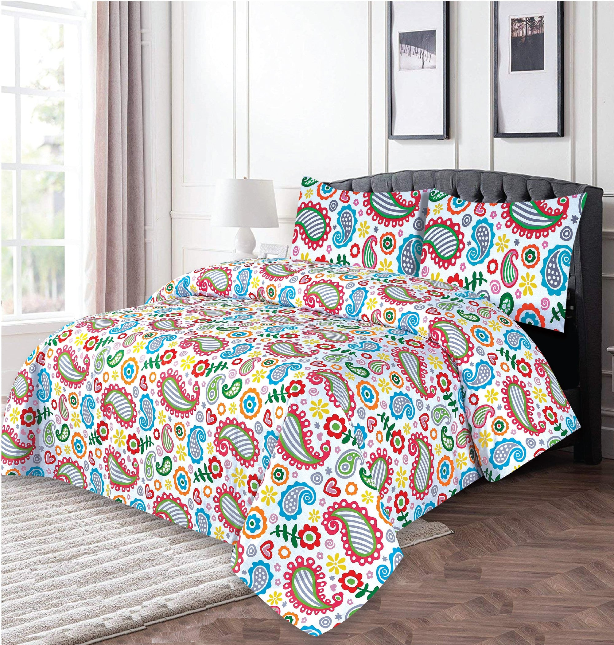 Grace D258-Cotton PC King Size Bedsheet with 2 Pillow Covers.