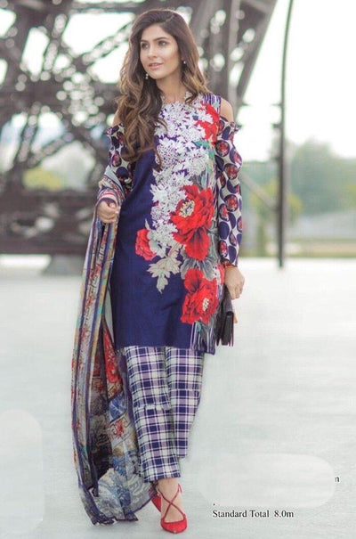 Firdous 18069 C-Embroided 3pc lawn dress with chiffon dupatta. - gracestore.pk