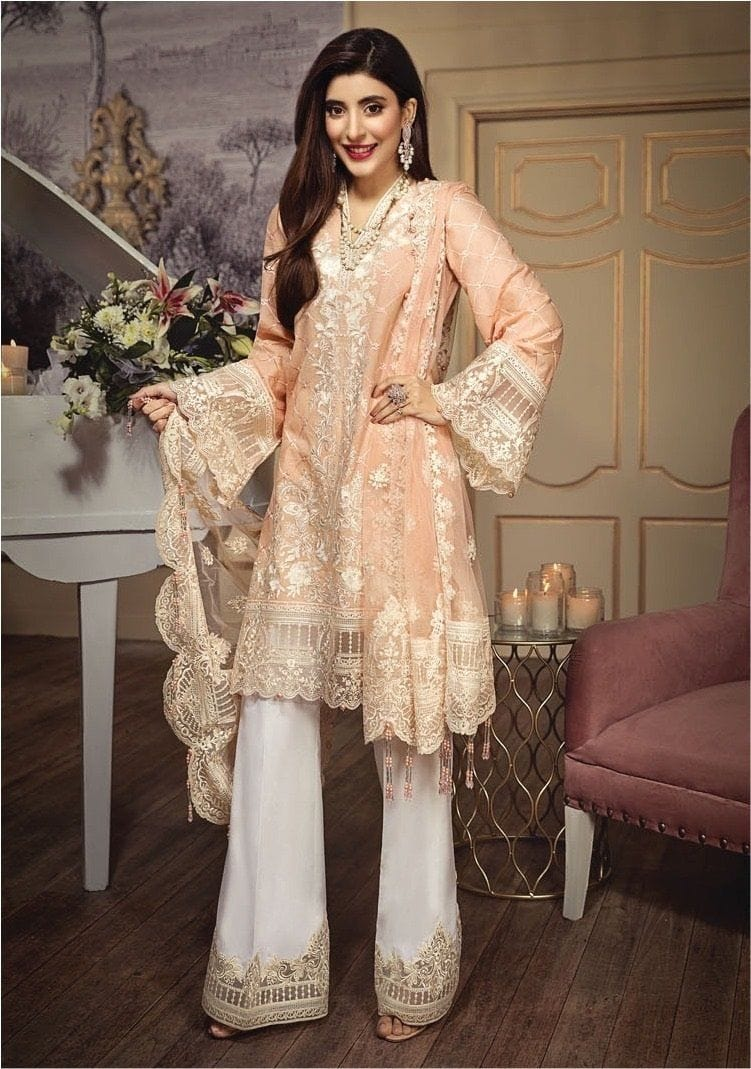 URVA Peach-Heavy Embroidered 3pc lawn dress with embroidered net dupatta. - gracestore.pk