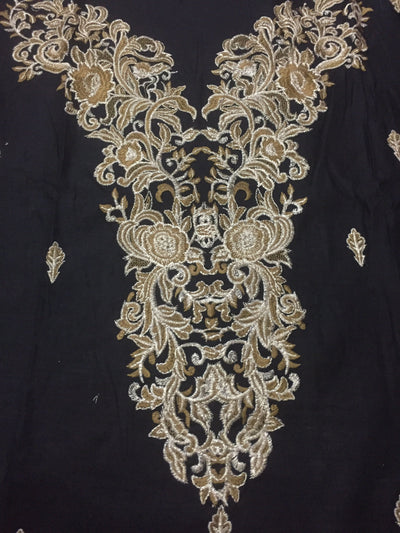 Iznik 02 black-Heavy Embroided 3pc linen dress with embroided chiffon dupatta. - gracestore.pk