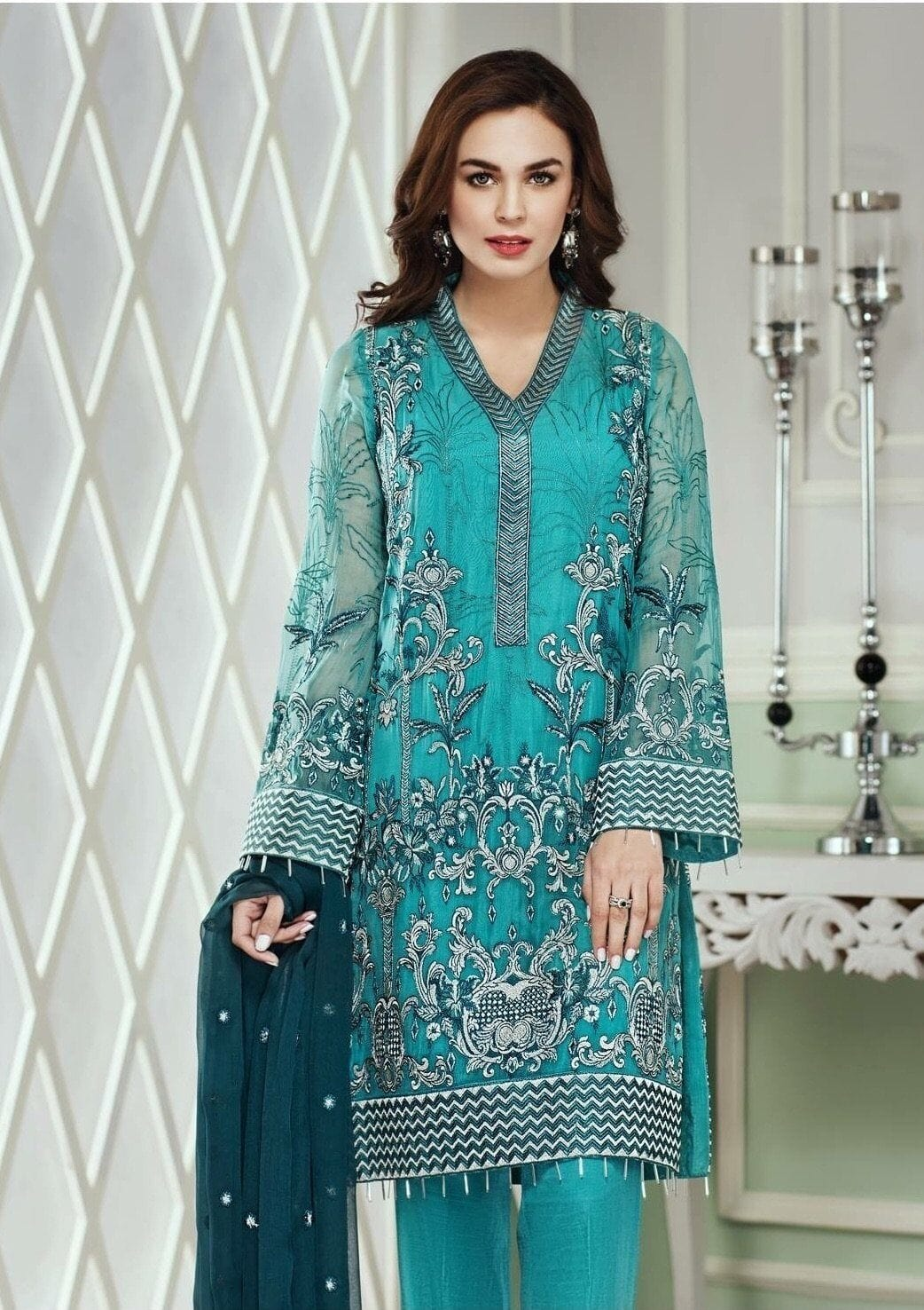 Jazmin 03-Heavy Embroided pure Chiffon Unstiched 3pc dress with embroided chiffon dupatta - gracestore.pk