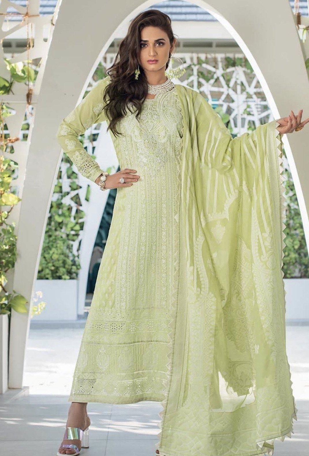 Grace green-Shifli Heavy Embroided in Laser cutwork 3pc lawn dress with karandi dupatta. - gracestore.pk