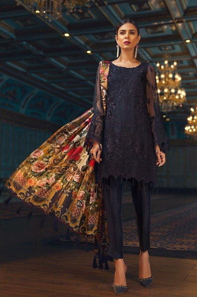 Jazmin D9-Heavy Embroided 3pc unstiched pure chiffon dress with silk dupatta. - gracestore.pk
