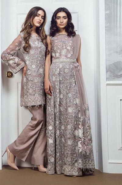 Barooque 10-Heavy Embroided 3pc unstiched pure chiffon dress with embroided chiffon dupatta. - gracestore.pk