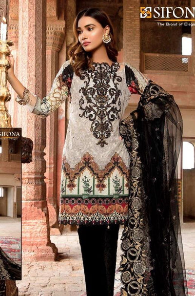 Sifona 18144-Embroided 3pc lawn dress with chiffon dupatta.