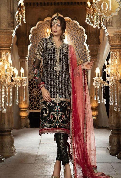 Maria 01 black-Heavy Embroided 2pc unstiched pure chiffon dress with embroided chiffon dupatta. - gracestore.pk