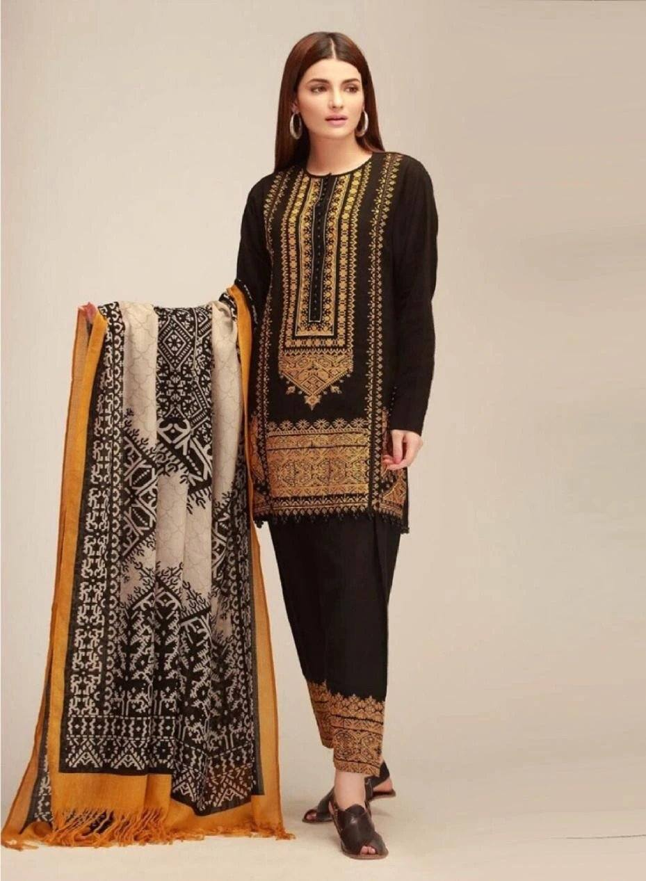 Khaadi 395 Black-Embroided 3pc khaddar dress with wool shawl. - gracestore.pk