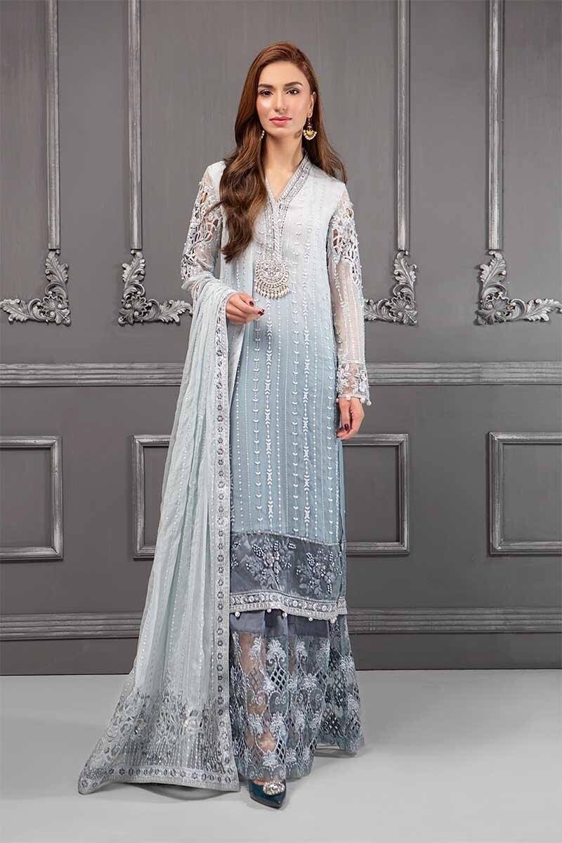 Maria -Heavy Embroided 2pc unstiched pure chiffon dress with embroided chiffon dupatta. - gracestore.pk