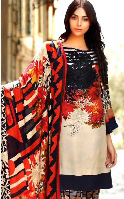 Charizma 1826-Embroided 3pc lawn dress with chiffon dupatta. - gracestore.pk