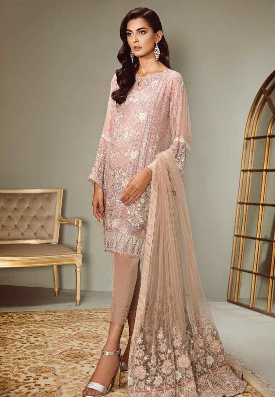 Barooque 04 panache-Heavy Embroided 3pc unstiched chiffon dress with embroided chiffon dupatta. - gracestore.pk