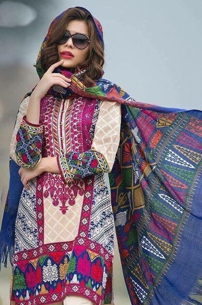 Limelight 18043-Embroided 3pc lawn dress with lawn dupatta. - gracestore.pk