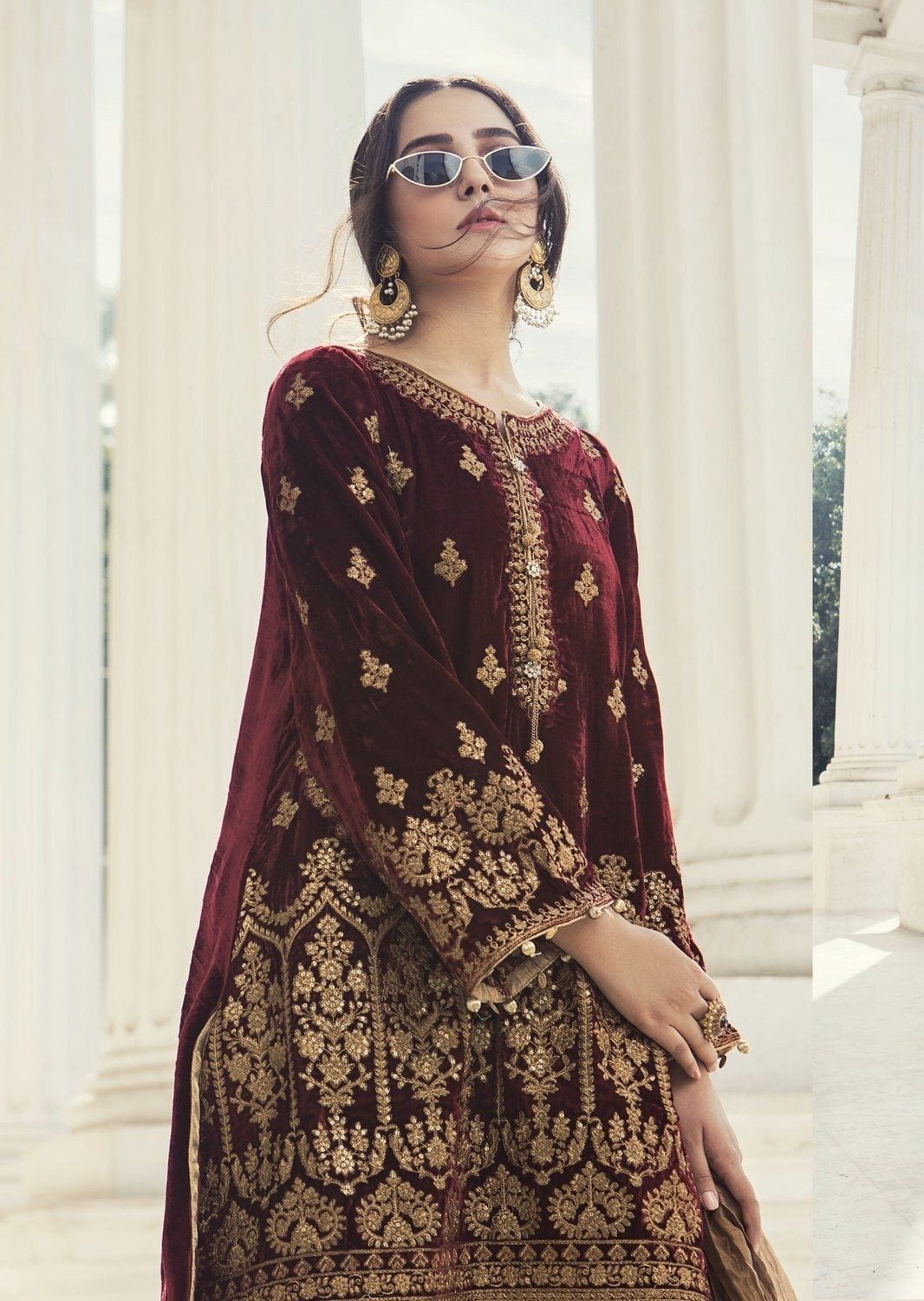 Maria Maroon-Embroided 2pc velvet dress with jamawar trouser.