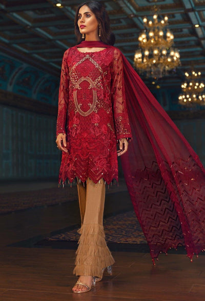 Jazmin red-Heavy Embroided 3pc unstiched pure chiffon dress with embroided chiffon dupatta. - gracestore.pk