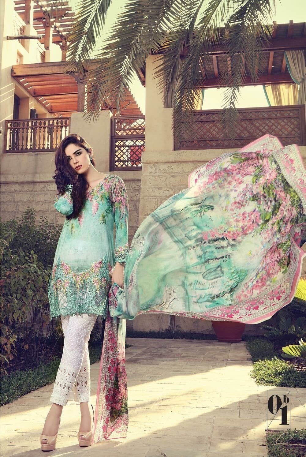 Maria 1842  B-Embroided 3pc linen dress with printed chiffon dupatta. - gracestore.pk