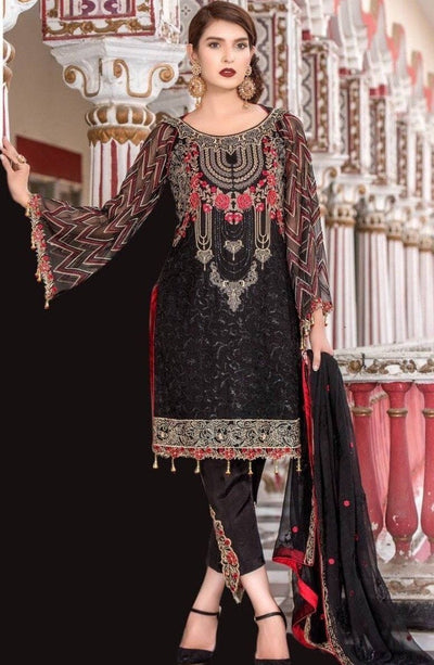 Maryam's Black-Heavy Embroided 3pc unstiched pure chiffon dress with embroided chiffon dupatta. - gracestore.pk