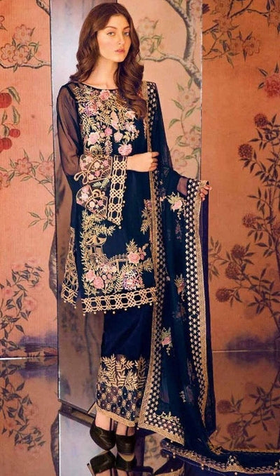 Serene 428-Heavy Embroided 3pc lawn dress with embroided chiffon dupatta. - gracestore.pk