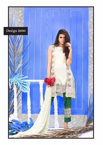 NEEDLEZ ORIGINAL 2690-PURE CHIFFON UNSTITCHED 3PCS EMBROIDED DRESS - gracestore.pk