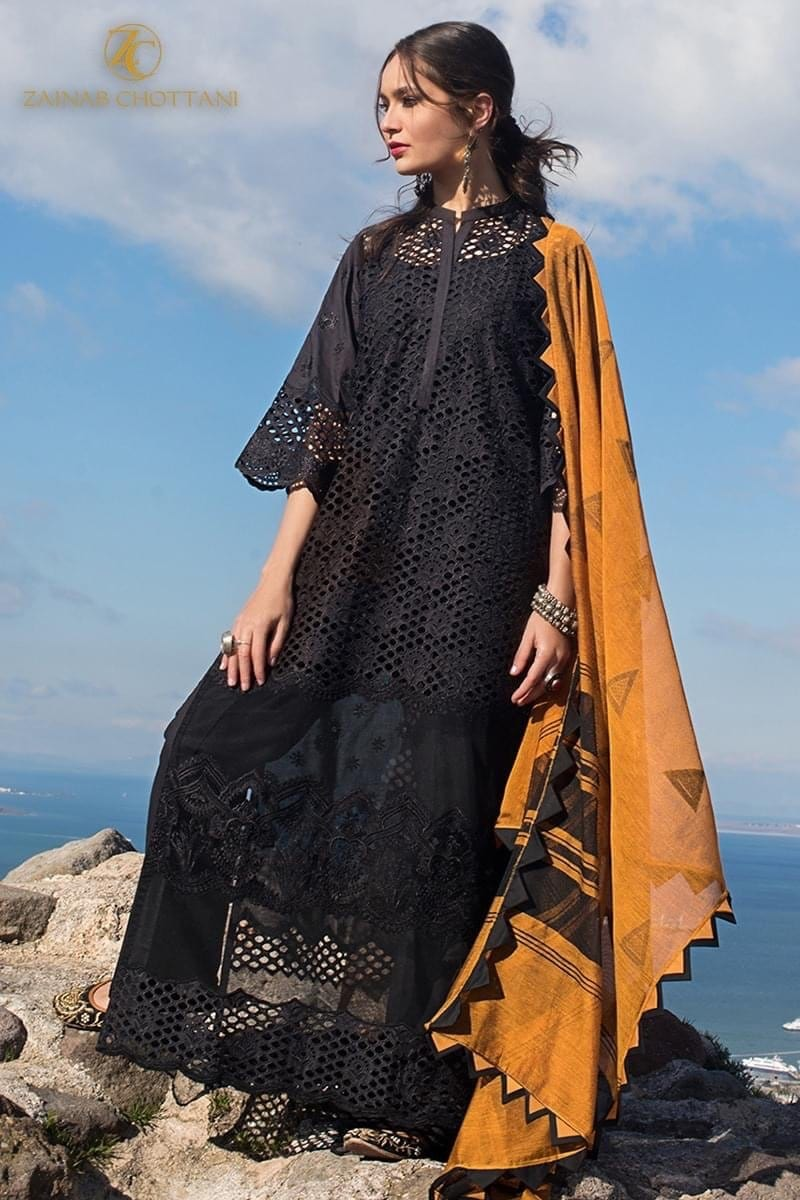 Zainab Black - Embroidered 3pc Lawn Dress With printed Organza Dupatta.