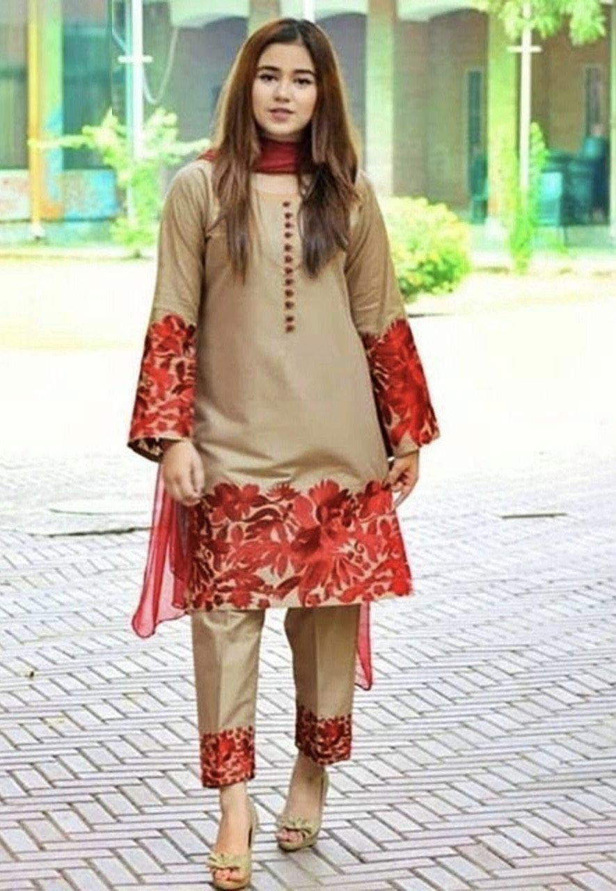 Sarinnah Brown-Embroided 2pc linen dress shirt & trouser. - gracestore.pk