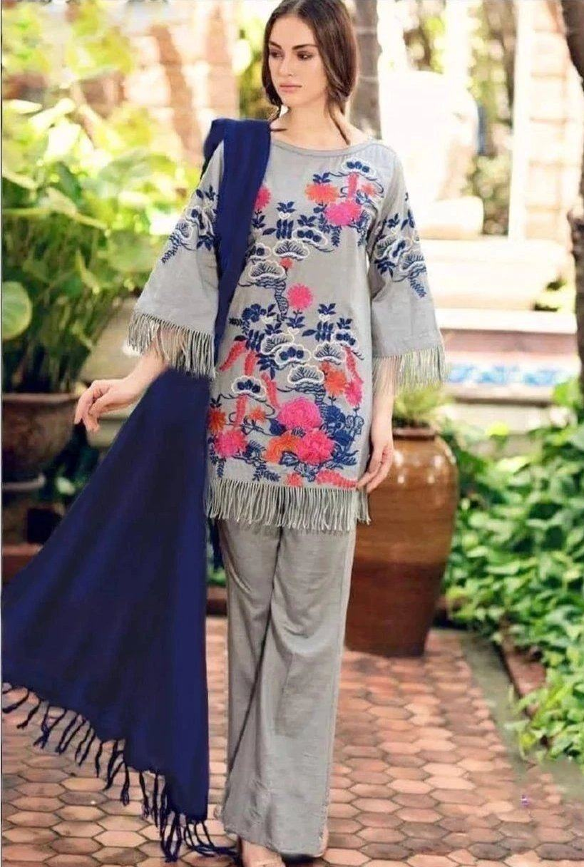 Sarinah D09 L-Embroided 3pc linen dress with pashmina shawl.
