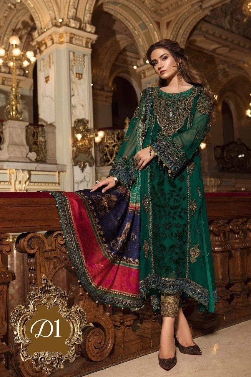 Maria 1501-Heavy Embroided 2pc unstiched pure chiffon dress with silk dupatta. - gracestore.pk