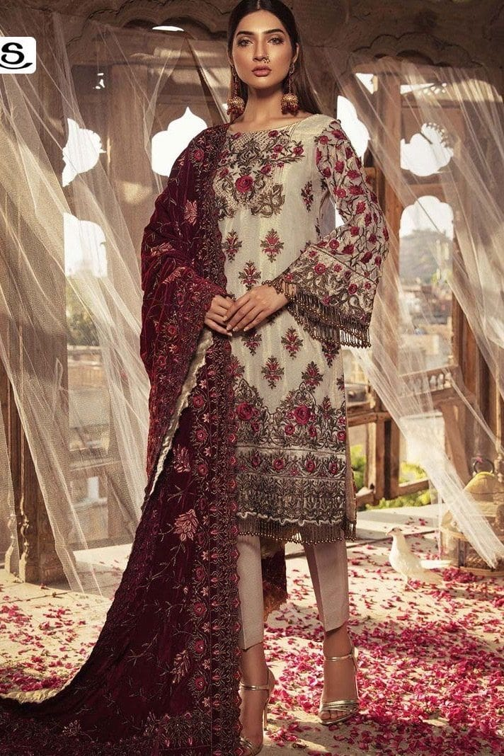 Embroyal 140-Heavy Embroided 2pc unstiched pure mesury dress with embroided velvel shawl. - gracestore.pk