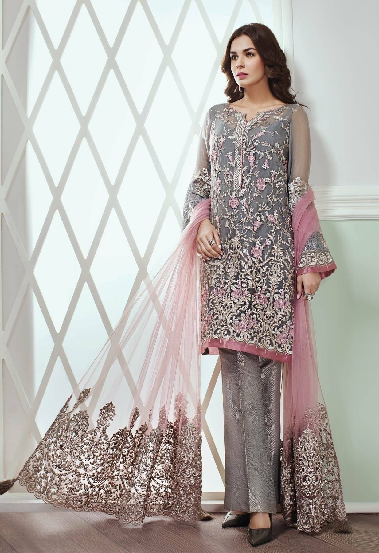 Jazmin 04-Heavy Embroided pure Chiffon Unstiched 3pc dress with embroided net dupatta - gracestore.pk