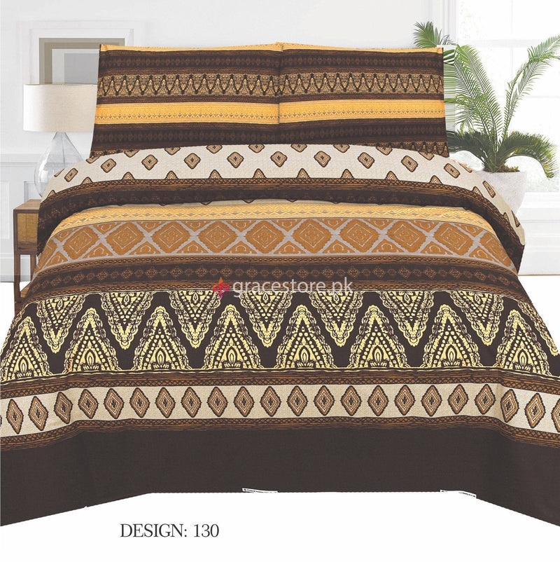 Gul Ahmed Design 130-Cotton pc king size Bedsheet with 2 pillow covers. - gracestore.pk