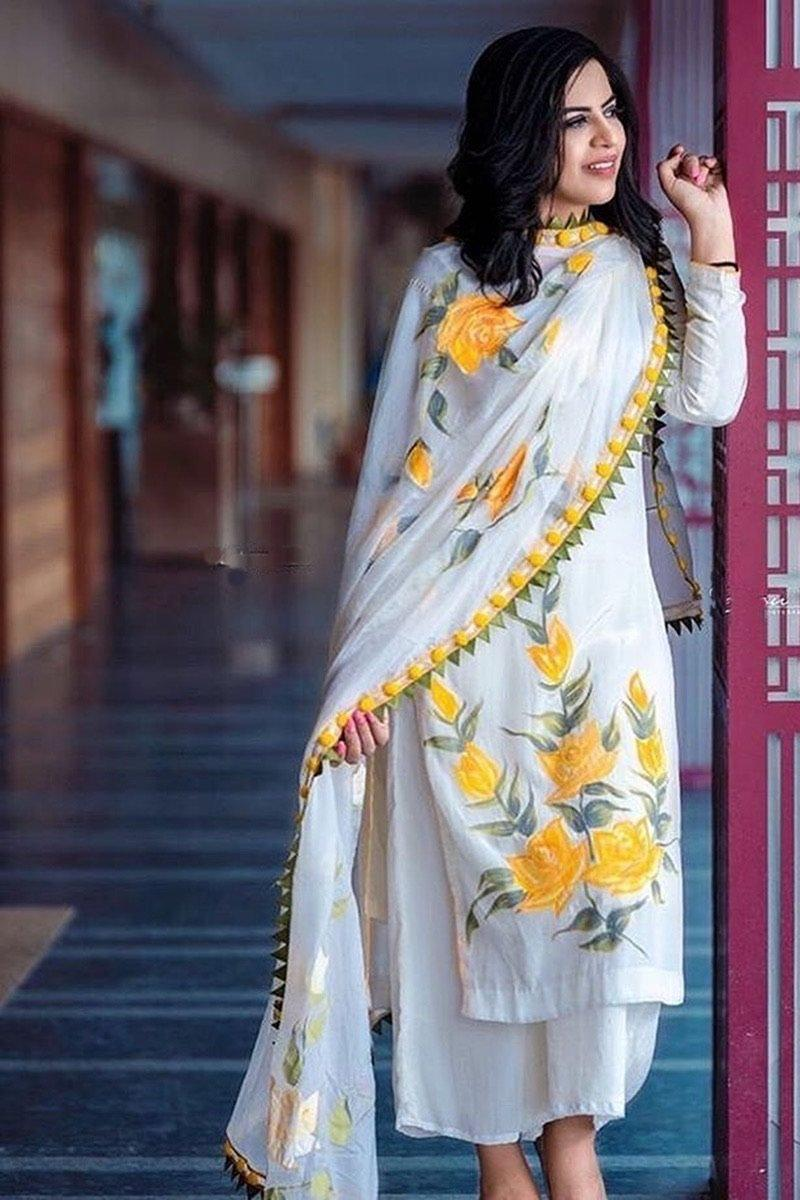 Grace white-Embroided 3pc linen dress with chiffon dupatta.