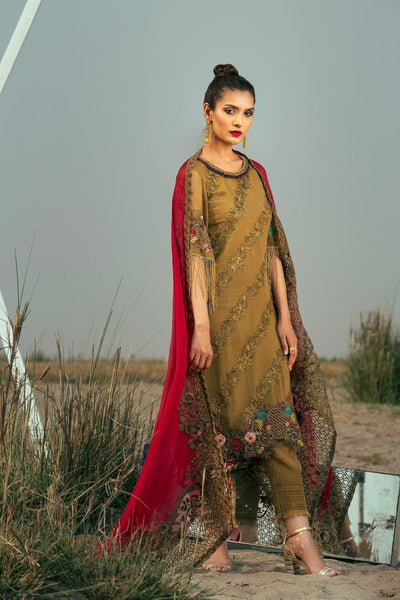 Coir Olive beau-Heavy Embroided 3pc unstiched pure chiffon dress with embroided chiffon dupatta. - gracestore.pk