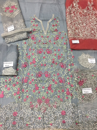 Serene 2-Heavy Embroided 3pc unstiched pure chiffon dress with embroided chiffon dupatta. - gracestore.pk