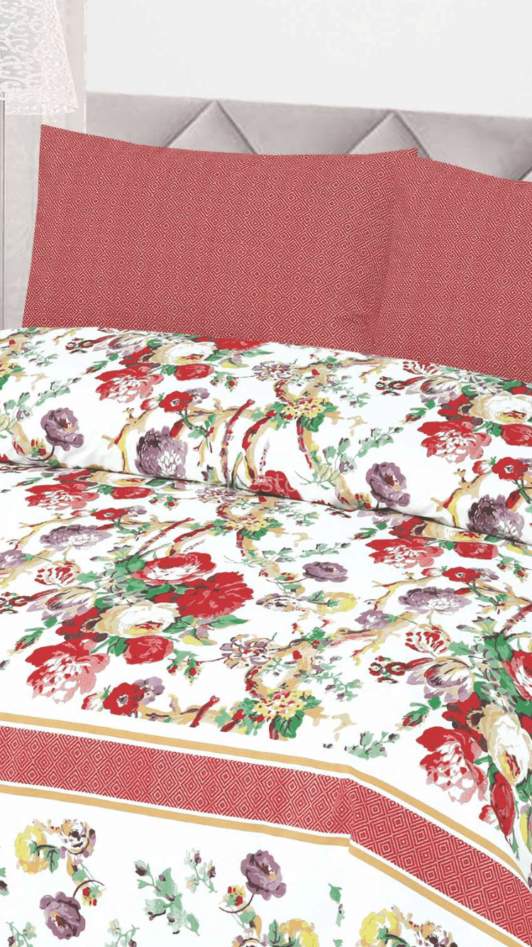 Khaadi Design 133-Cotton pc king size Bedsheet with 2 pillow covers. - gracestore.pk