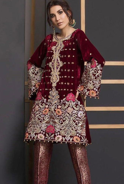 Anus Abrar D 071-Embroided 2pc velvet dress with jamawar trouser. - gracestore.pk